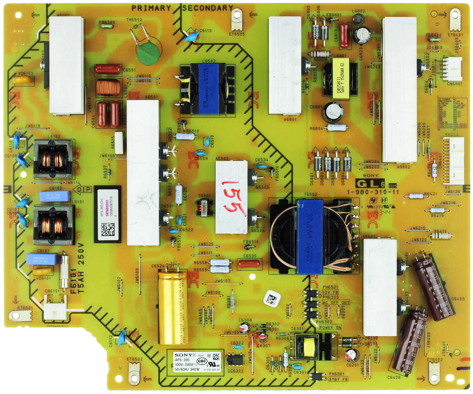 "Sony 55"" LED TV XBR-55X810C Power Supply Board APS-395 APS-395(C"