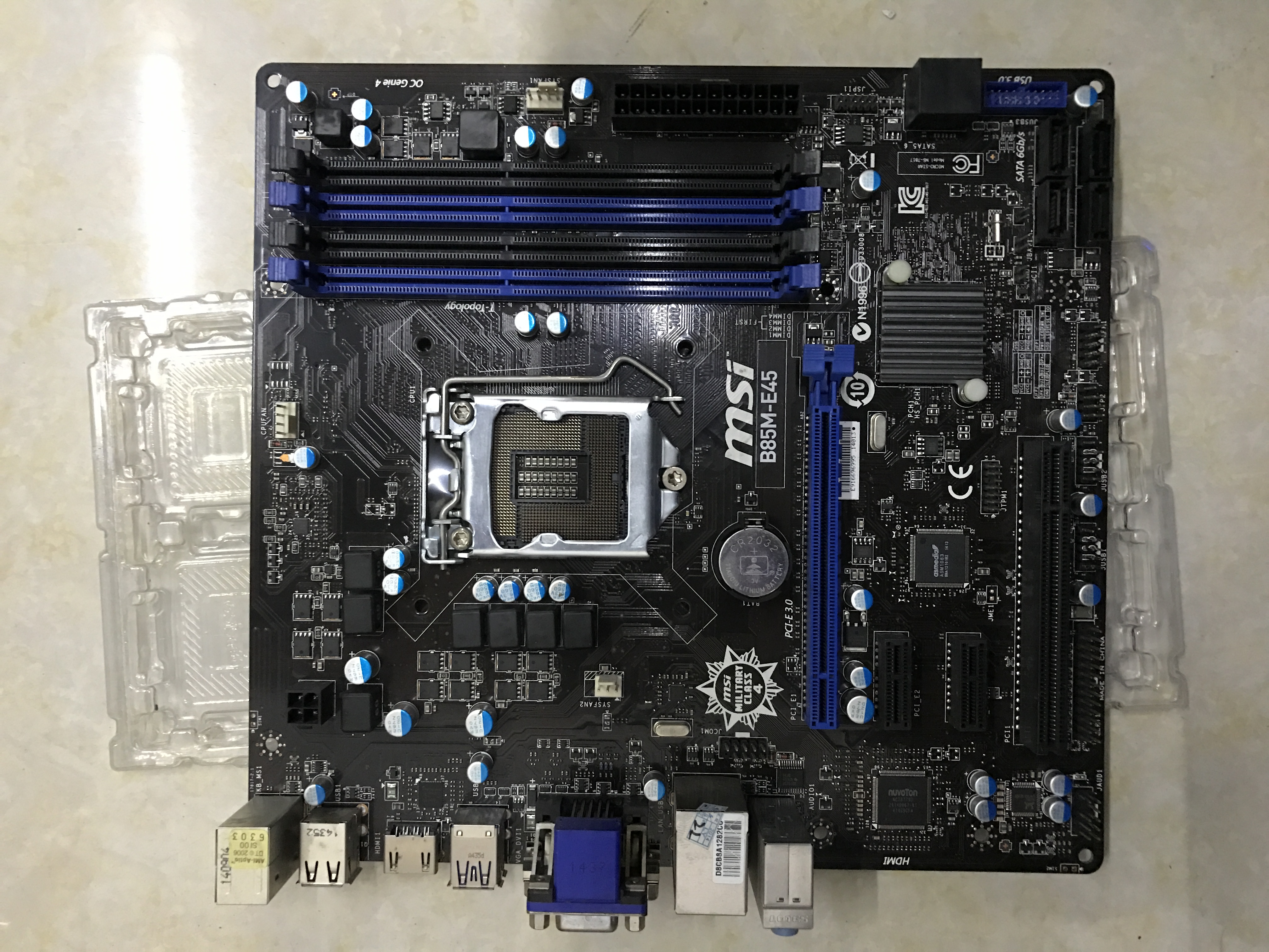 MSI B85M-E45 Motherboard LGA1150 Intel B85 DDR3 VGA DVI DHMI With I/O Shield