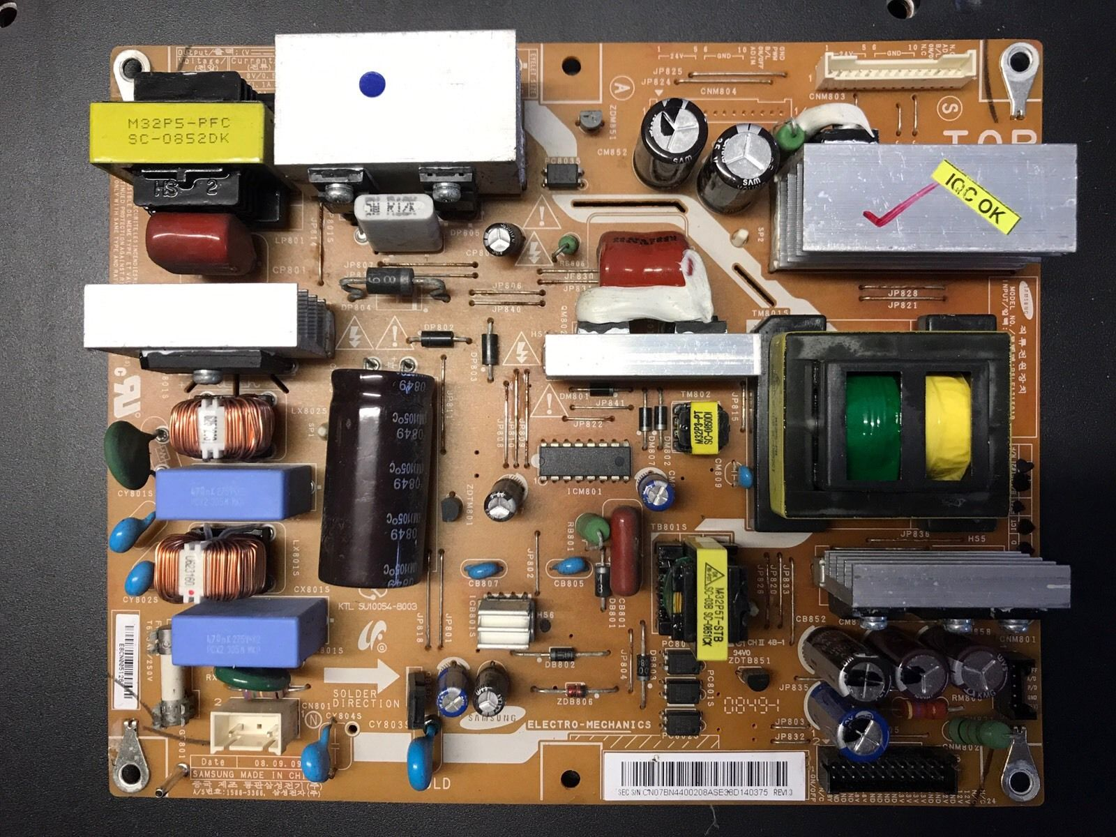 samsung TV power supply board BN44-00208A from LA32A450C tested