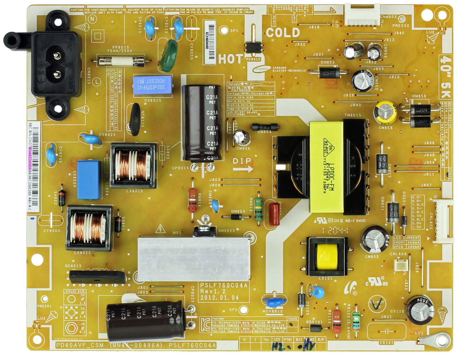 Samsung BN44-00496A (PSLF760C04A) Power Supply LED Board