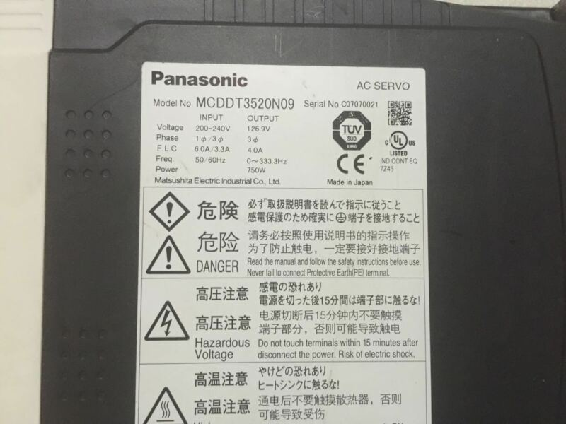 1PC USED PANASONIC AC SERVO DRIVER MCDDT3520N09 EXPEDITED SHIPPING