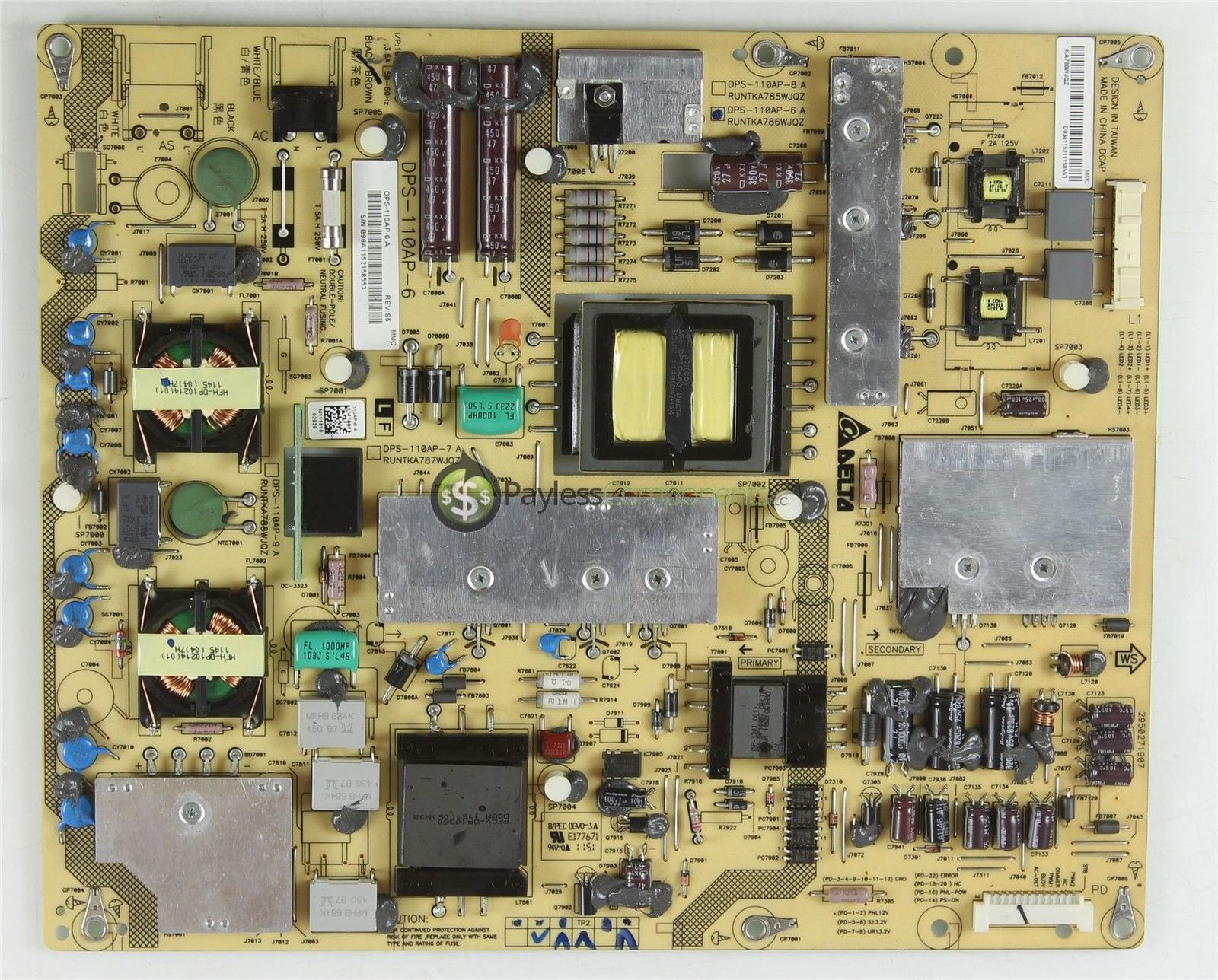 Sharp RUNTKA786WJQZ Power Supply Board DPS-110AP-6A LC-40LE830U