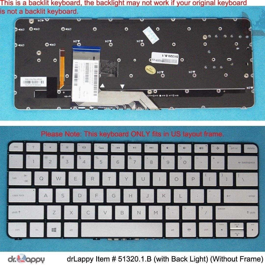 Genuine HP US Backlit Silver Keyboard for Spectre x360 13-4200nx 13-4201na