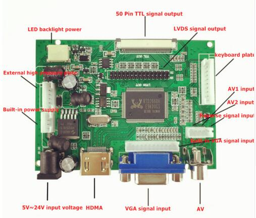 LCD Display TTL LVDS Controller Board HDMI VGA 2AV 50PIN for AT0