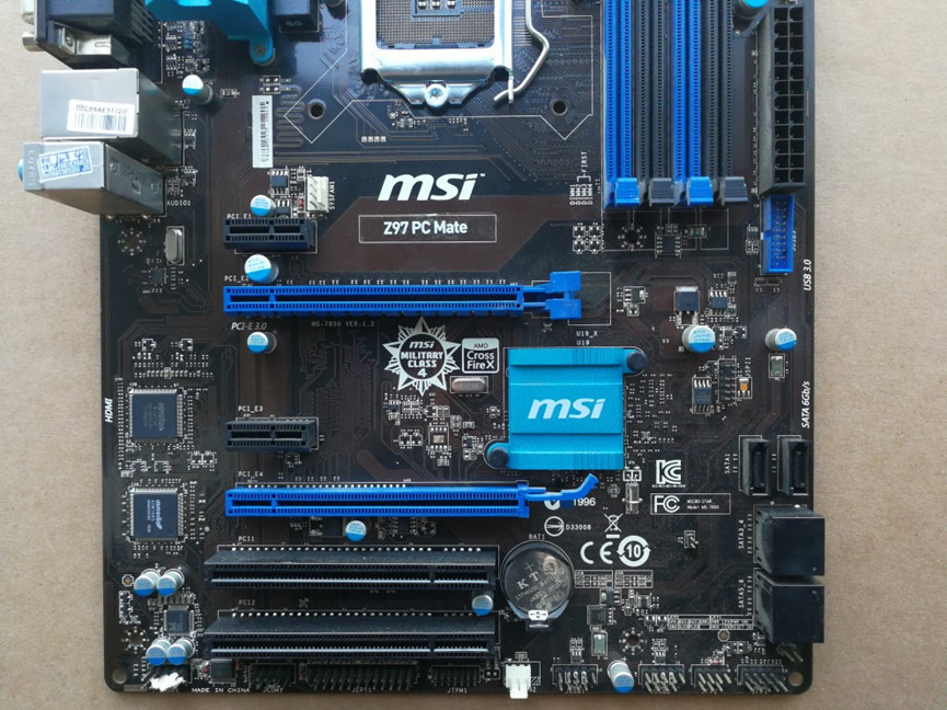 MSI Z97 PC Mate Motherboard LGA1150 Intel Z97 DDR3 VGA DVI HDM With I/O Shield