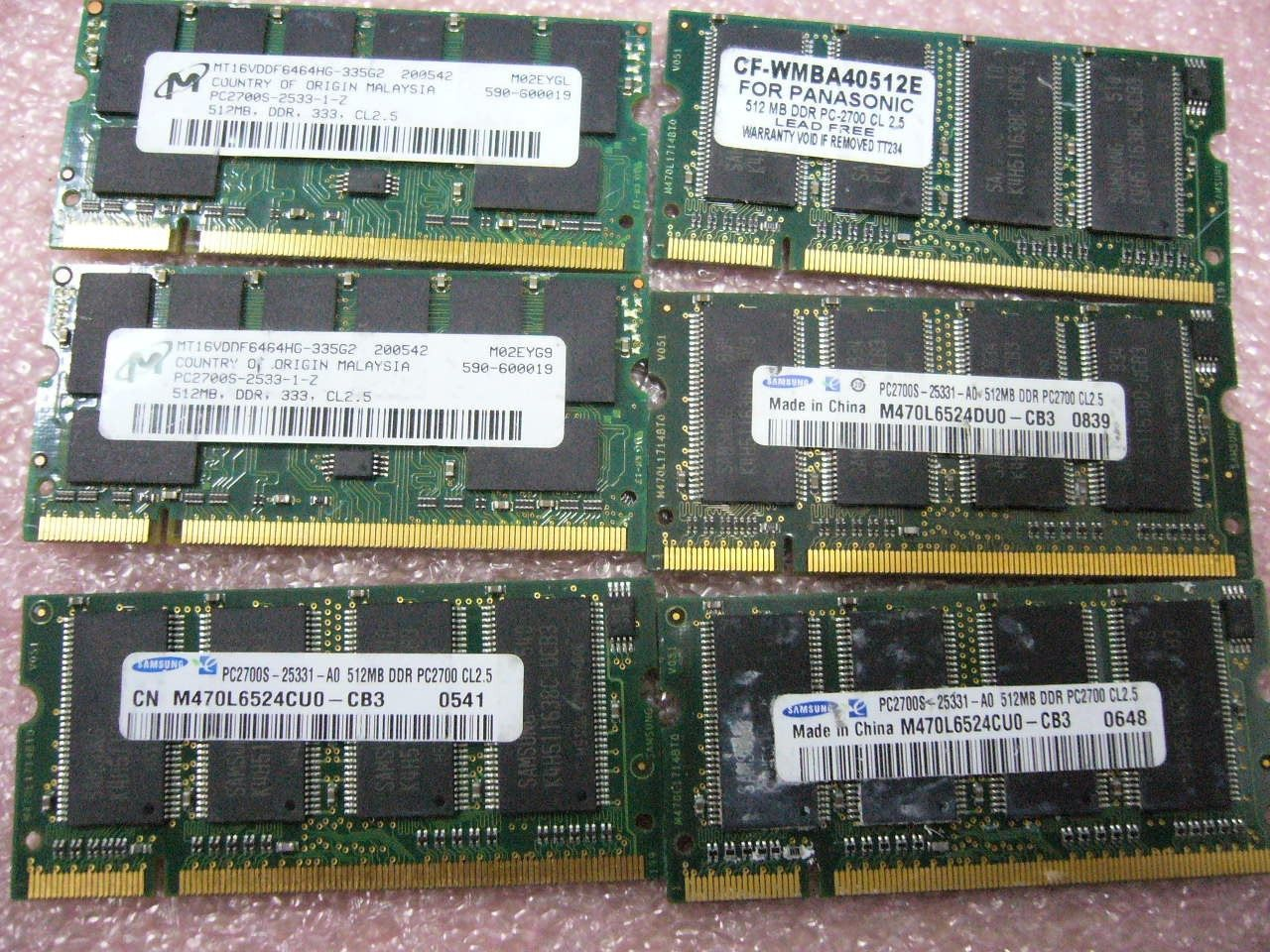 Lot 1GB QTY 2x 512MB DDR 333Mhz PC2700S SO-DIMM memory stick for laptop