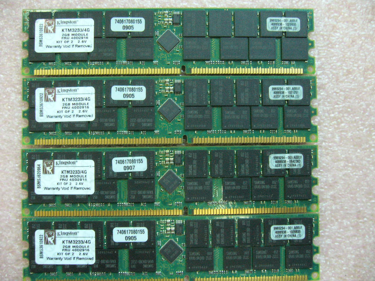 QTY 1x 2GB Kingston KTM3233/4G PC-3200R ECC Registered Server memory FRU 40D2916