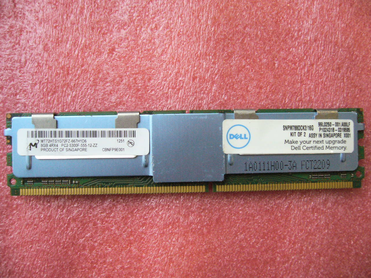 QTY 1x 8GB DDR2 PC2-5300F 4Rx4 ECC FBD Server memory Dell SNPM788DCK2/16G