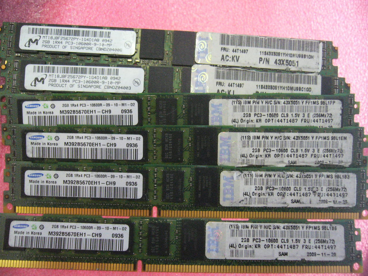 QTY 1x 2GB DDR3 PC3-10600R ECC Registered memory IBM P/N 43X5051