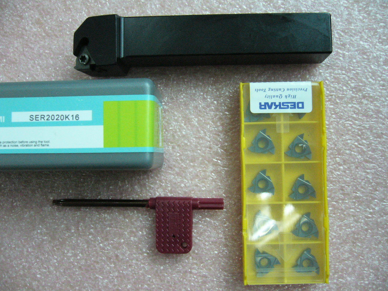 10x 16ER Threading Inserts (ISO UN AG BSPT Type Selectable) with TOOL HOLDER set