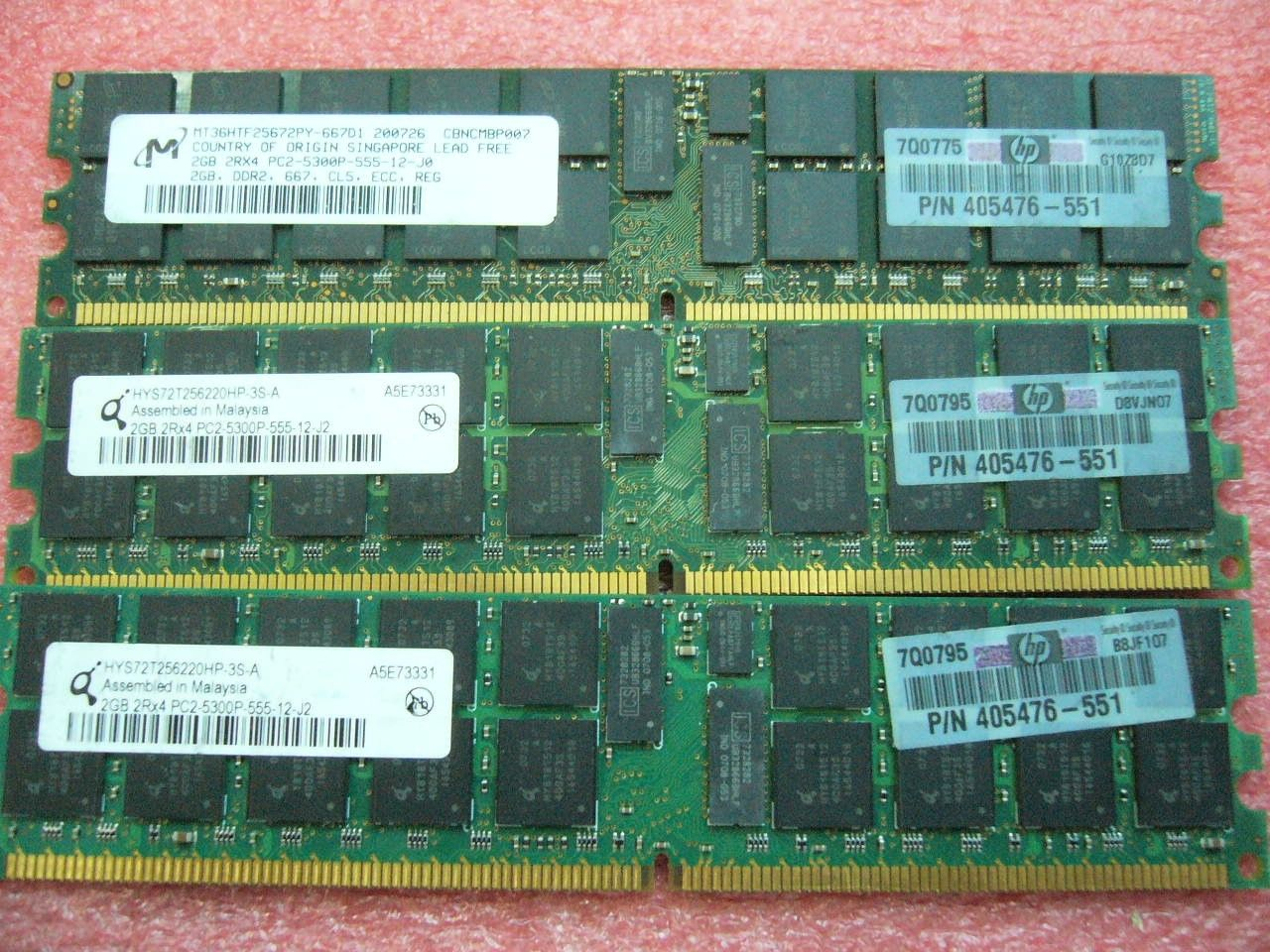 QTY 1x 2GB DDR2 PC2-5300P 2Rx4 ECC Registered Server memory HP PN 405476-551