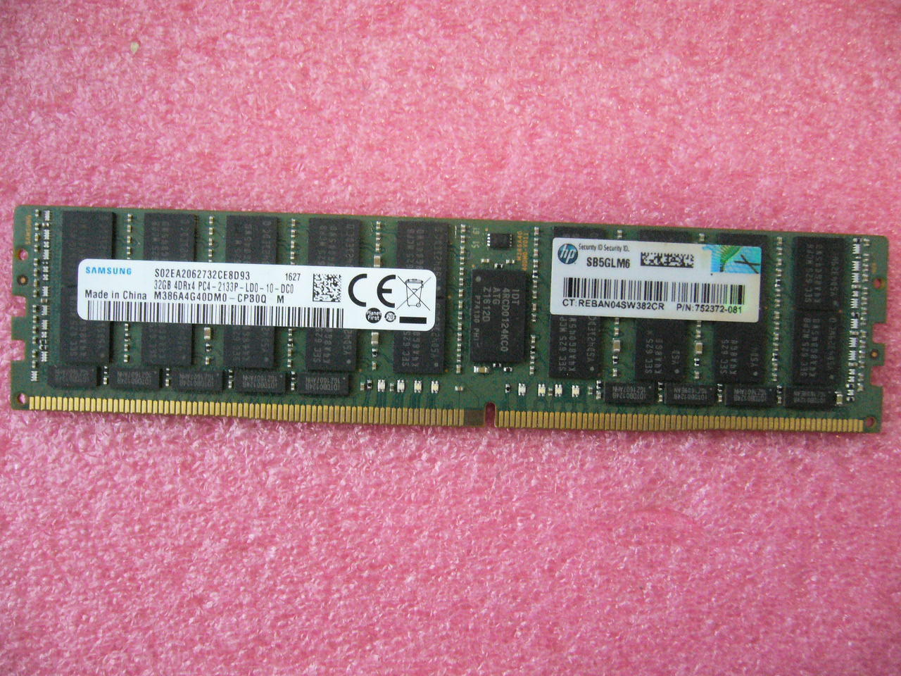QTY 1x 32GB DDR4 4DRx4 PC4-2133P-LD0 ECC Registered memory Samsung HP 752372-081